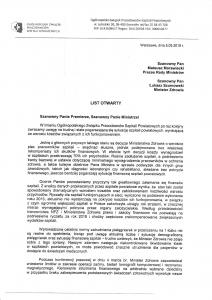 List otwarty OZPSP do Premiera i Ministra Zdrowia str 1