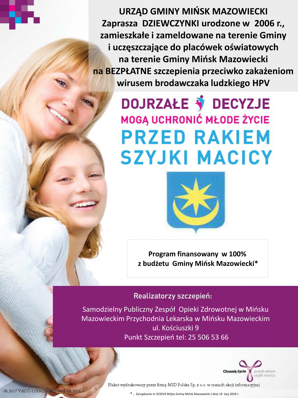 Szczepienia HPV 2019 plakat