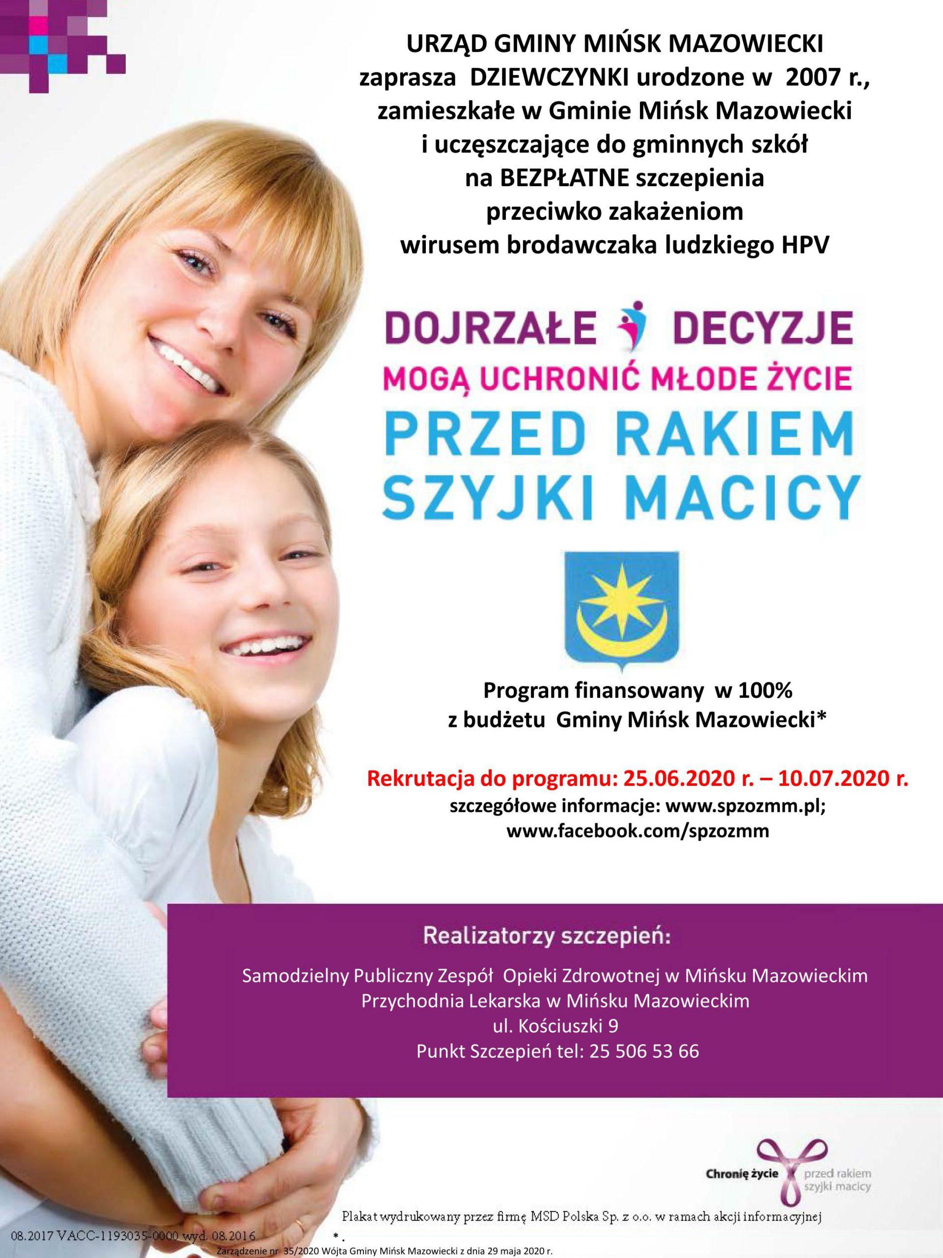 Program profilaktyki zakażeń wirusem brodawczaka ludzkiego (HPV) w Gminie Mińsk Mazowiecki na lata 2016-2020